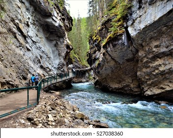 Very relaxing and easy Spring hike along the Upper and Lower Falls trail of Johnston Canyon in Banff  National Park, Alberta, Canada