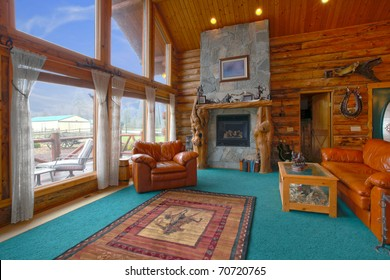 Very rustic log cabin on the horse farm in Washington state