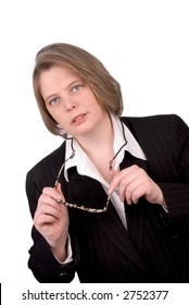 Very serious Female executive in business suit isolated on a white background background