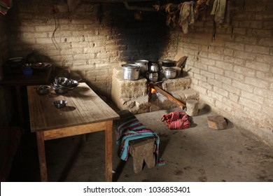 Very simple kitchen and fireplace of a farmers family in the highlands of Peru, Region Huanuco.