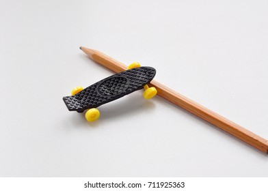 A very small skateboard.