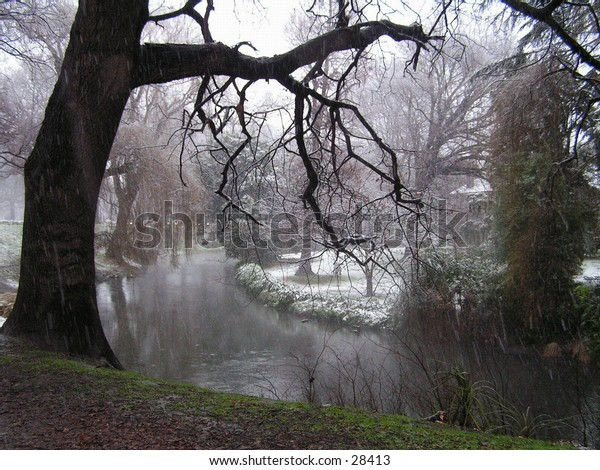 A very snowy day in Hagley Park Christchurch New Zealand