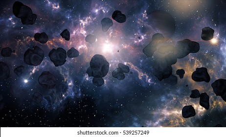 A Very Spectacular and Cinematic Asteroid Field in Outer Space Galaxy 3D Illustration