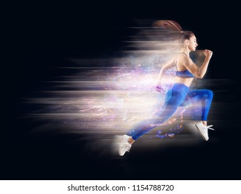Very speed athletic caucasian woman running with trail. Isolated on blackbackground.