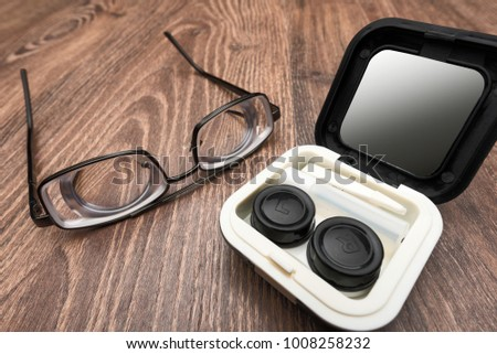 e0fc271093 Very strong glasses with thick lenses for high myopia and bad eyesight with contact  lens case