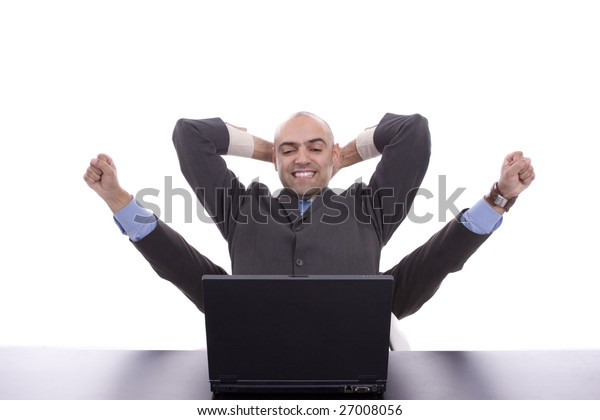 Very successful businessman, with arms raised isolated over white