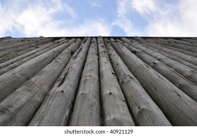Very tall  protective fortress wooden wall