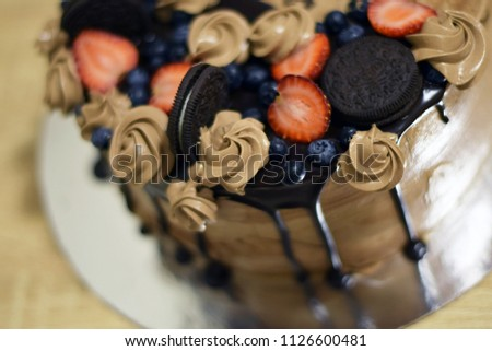 Very Tasty Beautiful Chocolate Cake Cream Stock Photo Edit Now