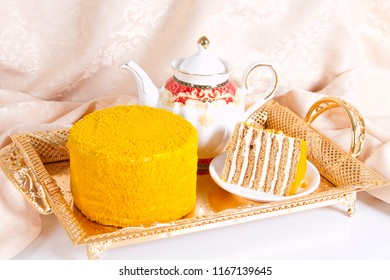 Very tasty honey cake with fruit flavor