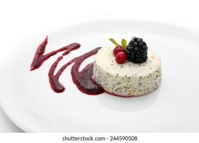 Very tasty sweet desert on white background