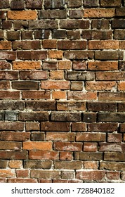 Very Textured Coloured Brick Wall Close Up