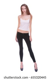 Very thin Young woman staying on white bacground. Isolate. Anorexia