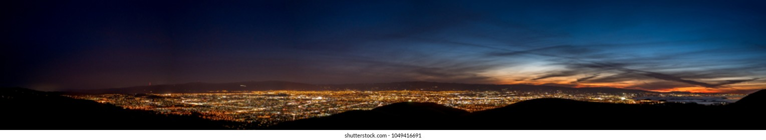 Very Wide Panorama of Silicon Valley from San Jose to the Sea