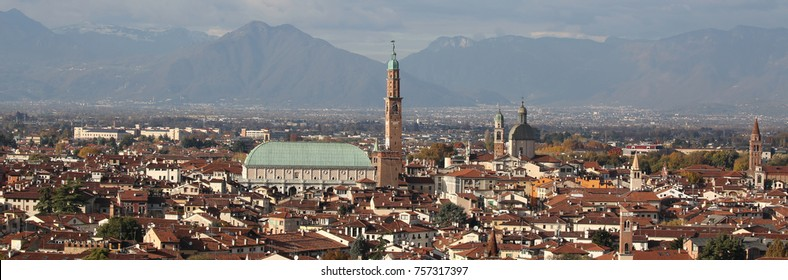 Very wide view of VICENZA city in Italy and the famous monument called BASILICA PALLADIANA. This name comes from the Architect Andrea Palladio