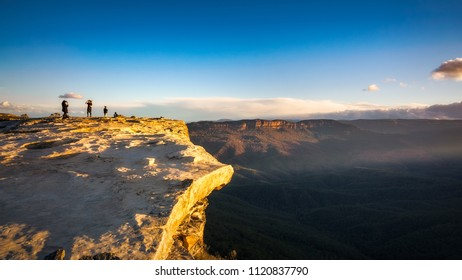 Very windy weather conditions at sunset at Lincoln Rock Lookout, Blue Mountains, New South Wales, Australia.
