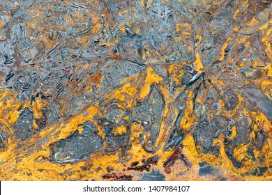Very yellow and grey rusty metal texture.