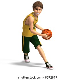 a very young toon character plays basketball With Clipping Path