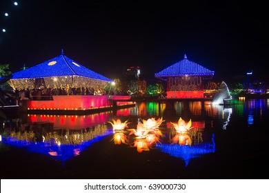 Vesak celebrations at Gangarama seemamalaka temple in Colombo Sri Lanka