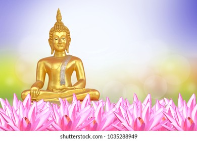 Vesak day, Buddhist lent day, Buddha's birthday worshiping..Buddha statue. background blurred flowers and sky with the light of the sun.