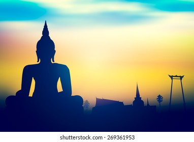 Vesak day concept: Silhouette Buddha with blurred tourist attraction in thailand on sunset background.