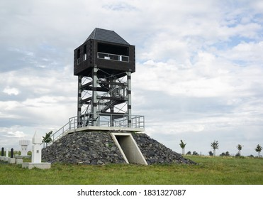 Veselsky hill (Veselsky kopec), Odry, Czech Republic / Czechia - lookout and observation tower on the the top of hill. High and tall building in the nature. - Shutterstock ID 1831327087