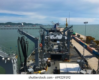 Vessel alongside in Harbour at Jetty area.