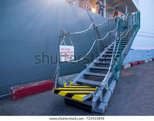 Vessel Gangway Connect Port After Complet Stock Photo (Edit