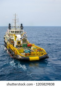 Vessel or large boat used in offshore operation as a support, standby or supply vessel.