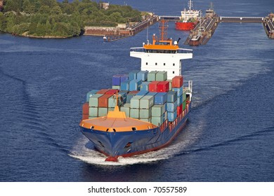 Vessel on the Kiel Canal near the locks of Holtenau, Germany