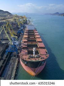 Vessel under loading in vostochny port, Russia