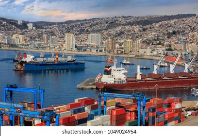 vessels in the Port of Valaraiso Chile