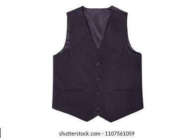 Vest black in white stripes isolated on white background