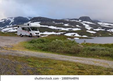 VESTFOLD OG TELEMARK, NORWAY - JULY 30, 2020: Camper van vacation in Vestfold og Telemark region, Norway. Norway had 8.8 million foreign visitors in 2015.