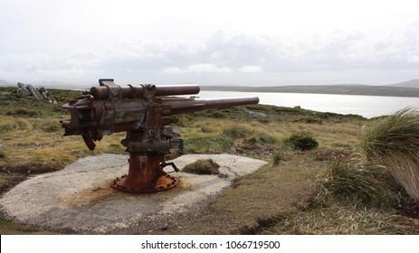 Vestiges of the Falkland War at Port Stanley, Falkland Islands.