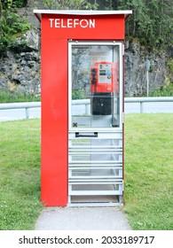 Vestland, Norway - July 30 2021: Public Telephone Booth