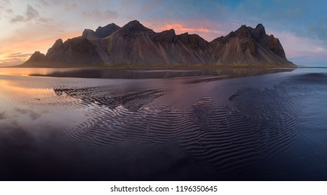 Vestrahorn mountain in the evening. Iceland