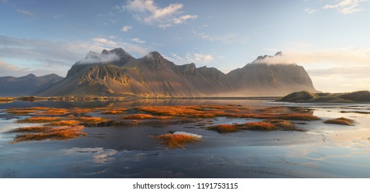 Vestrahorn mountain at sunrise. Iceland