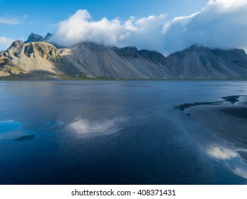 Vesturhorn Mountain and black sand dunes, Iceland