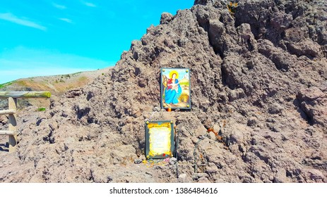 Vesuvio Crater Naples Italy - April 2019 Christian Prayer to the Madonna on the Top of Vesuvio Crater