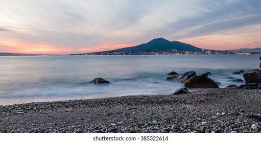 Vesuvius at sunset on the Gulf of Naples seen from Castellammare