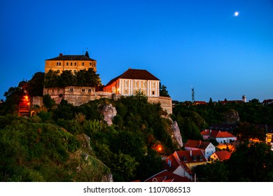 Veszprem, Hungary. View of illuminated landmarks of Castle hill at night in Veszprem, Hungary. Sunset with blue sky