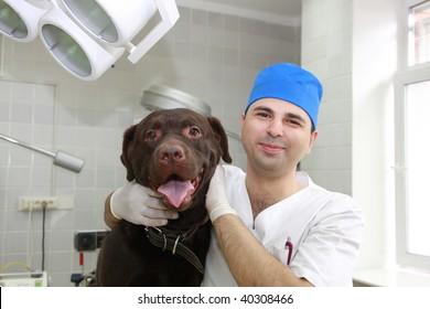 Vet and dog.