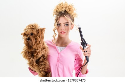 Vet. Pet salon. Petshop. Beauty salon for animals. Grooming tools. Dog salon. Grooming. Grooming master making dog hairstyle. Pet grooming. Animal clinic.