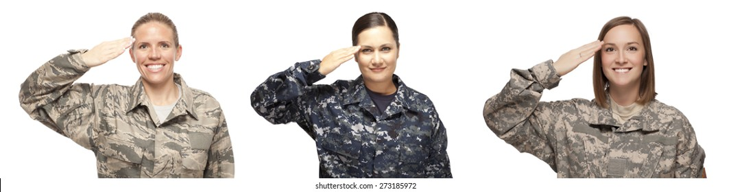 VETERAN FEMALE SOLDIERS | WOMEN IN COMBAT | WOMEN PROUDLY SERVING THEIR COUNTRY | Veteran soldiers in Air Force, Navy and Army Saluting in front of white background | Female veterans