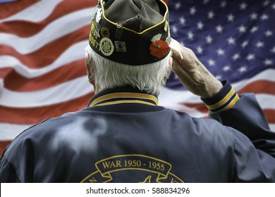 Veteran Saluting  in Front of US Flag