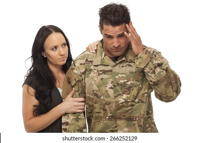 Veteran Soldier | Combat Stress | PTSD | Image of wife consoling her soldier husband against white background