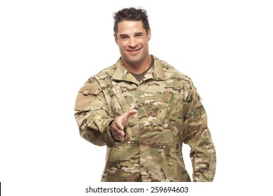 Veteran Soldier Extending Hand To Shake Isolated On White Background | Employment opportunities for servicemen transitioning to civilian world.