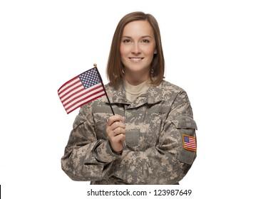 Veteran soldier Female holding an American Flag