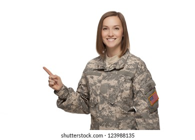 Veteran Soldier Female soldier pointing up