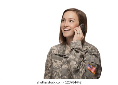 Veteran soldier Female Serviceman on her mobile phone